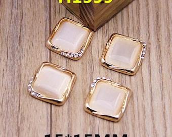 4pcs diy cat eye styles alloy cabochon 15x15mm flatback golden