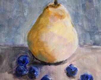 Original still life, pear painting, blueberries, small painting, kitchen art, fine art wall decor, wall art fruit