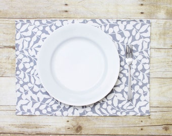 Double Sided, Eco-Friendly Place Mat - ORGANIC - Set of 2 - (M_3764 Grey Leaves Placemats)