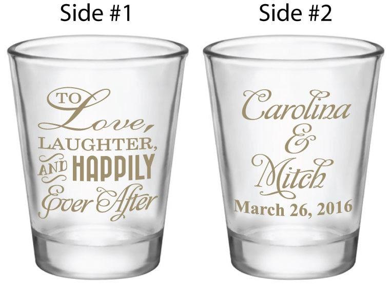wedding favors shot glass shot glasses to love laughter