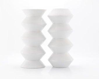 Ceramic Vases,  Porcelain Vases, White Ceramic Zig Zag Vase Set