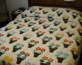 Flower Pots, hand made quilt