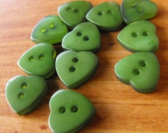 """26 Forest Green Mini Heart Buttons Size 3/8"""" Sewing Crafting"""