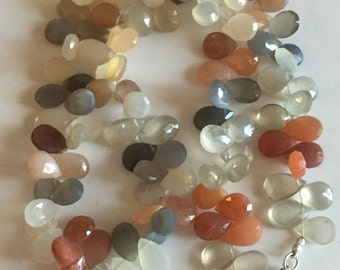 Moonstone Faceted Tear Drops-Graduated