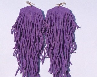 Purple Suede Leather Fringe Earrings