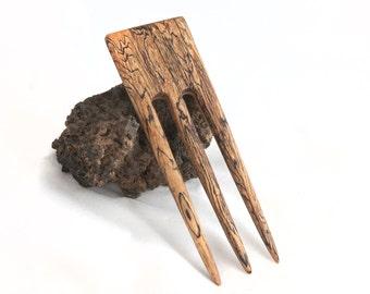 SPALTED TAMARIND BUCKEYE Burl Hair Fork - 3 Prong