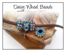Beading Pattern, Instructions, Tutorial, Beaded Spokes, Right Angle Weave, Slider Bead,  Instant Download DAISY WHEEL