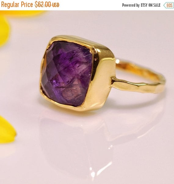 SALE - Purple Amethyst Ring - February Birthstone Ring - Solitaire Ring - Stacking Ring - Gold Plated - Cushion Cut Ring