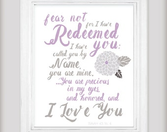 Redeeming Love - Bible Scripture Verse Art Print - Isaiah 43:1 - Purple and Gray - Select your size! Colors can be customized!