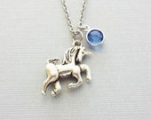 Unicorn Necklace, Mythical, Storybook, Fairy Tale Jewelry, Horse, BFF, Birthday Gift, Silver Jewelry, Swarovski Channel Birthstone Crystal