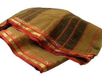 Vintage Sheer Sari Saree Fabric Yardage