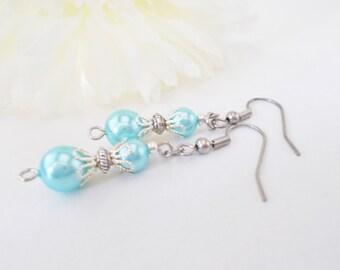 Blue Bridesmaids Earrings, Aqua Pearl Drop Earrings, Blue Wedding Jewelry, Clip On, Nickel Free Earrings, Sister Gift, Flower Girl Earrings