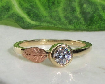 Diamond Stacking Ring, Diamond Ring, Stackable Ring, Rose Gold Leaf Ring, April Birthstone, 14k White Gold, 14k Yellow Gold, 14k Rose Gold