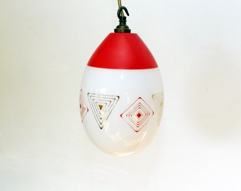 Vintage 1950's Retro Glass Light Shade - Red & Gold - Ceiling Light