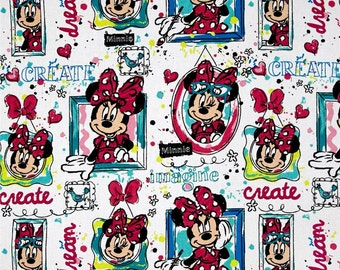 Disney Minnie Mouse Imagine Dream Create Windows print cotton fabric by Springs Creative