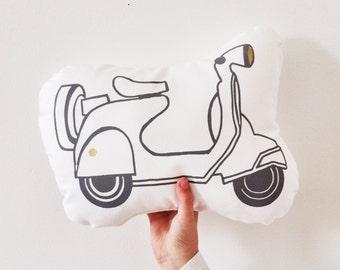 SCOOTER mini cushion : organic white cotton mini cushion, scooter print, monochrome nursery decor, kids room cushion
