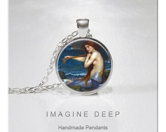 BUY 2 GET 1 FREE Mermaid Pendant Necklace Painting Fine Art Print High Quality Handmade Silver Copper Pendant - Waterhouse A Mermaid (125)