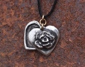 Spring Sale 10% Rose Heart Locket Pendant in silver pewter
