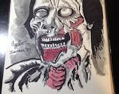 Original Ink Drawing INKtober #27 - ZOMBIE  Longhair mixed media ink / watercolor