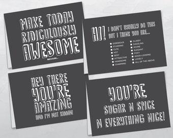 Fun Greeting Card : Coal Grey - SET OF 4