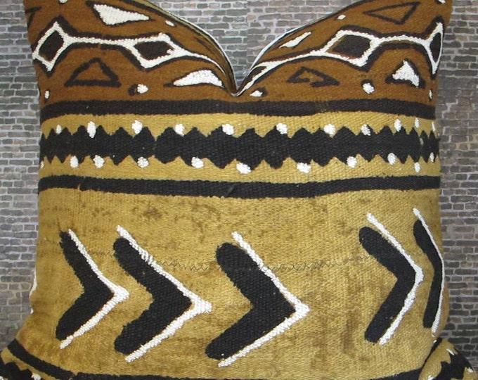 3BM Designer Pillow Cover 18 x 18 - African Mud Cloth No.2, Fawn, Brown, Tan, Black