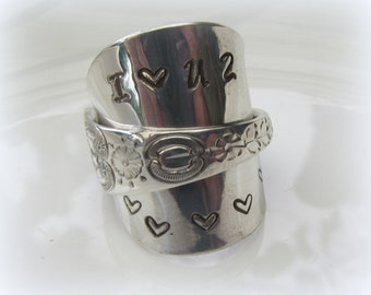 i love u 2 BEAUTIFUL sterling silver SPOON RING handmade adjustable gift