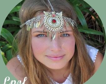 Red Gypsy Head Chain Headpiece Hair Jewelry Hair Accessory Burning Man Coachella Head Jewelry Bohemian Headdress Hair Chain  Gypsy Woman Red