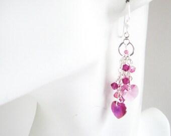Fuchsia Pink Double Heart Long Dangle Earrings, Pink Heart Jewelry, Rose Pink Heart Earrings, Valentine Heart Earrings, Bridal Jewelry