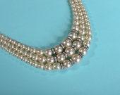 Vintage 1930s Faux Pearl Necklace - Rhinestone Rhondelles - Bridal Fashions