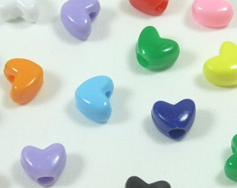 Assorted Colors Heart Pony Beads, 10x12mm, 1 lb