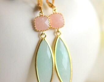 Mint Jade Drop Earrings in Gold.  Dangle Peach Mint Dangle Earrings.  Gift for Her.  Dangle Earrings. Modern Drop Earrings. Christmas Gift.