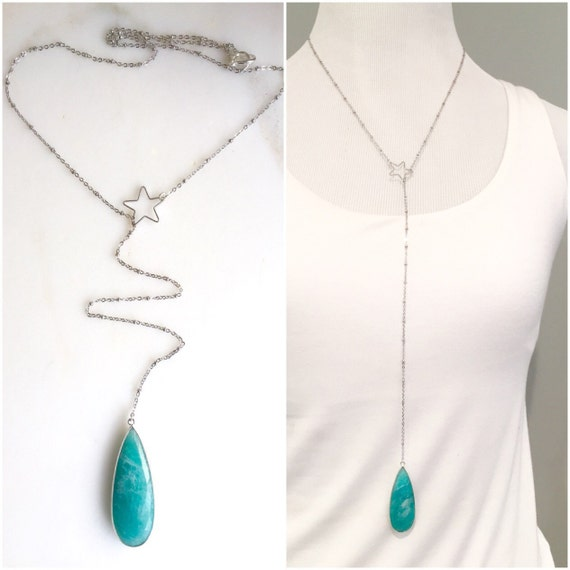 Long Lariat Necklace. Y Necklace. Layer Necklace. Long Silver Star Lariat. Amazonite Stone Jewelry. Gift. Statement Necklace.
