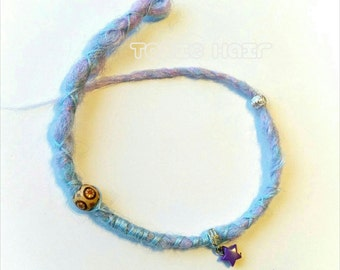 Crocheted dreadlocks, synthetic dreads, hair wraps, hair extensions ready to ship pastel blue & lavender dread 1 embellished dreadlock
