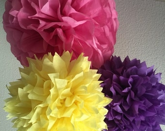 Tissue Paper Pom Poms -Set of 10- Sesame Street Party - Inside Out Party Decorations - Owl Party decorations