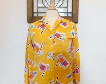 Long Sleeve Blouse Vintage Yellow Flag Button Down Shirt - M / L