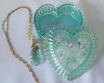 Fenton Aqua Hand Painted Heart Box with Pendant