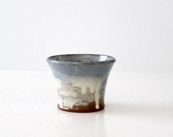 vintage studio pottery ring holder vase, Robert Brown artist signed