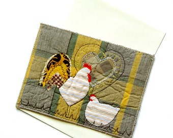 Wedding anniversary card, Hen Rooster, Fiber Art Card, Anniversary gift, for happy couples, white yellow grey, folk art, greeting card