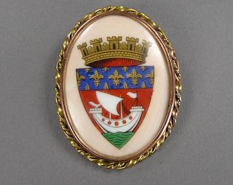 Paris Heraldic Shield, Arms of Paris, Parisian  Pin, Limoges Brooch, Castle, Ship, Armes de Paris, Signed, Vintage Jewelry, Coat of Arms