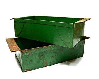 Two Green Metal Storage Bins - Vintage Industrial Decor - Farmhouse Shabby Chic Rusty Index Card Holders File Drawer Containers