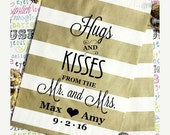 "sha3sheniece 25 Personalized Gold Party Favor Bags ""Hugs and Kisses From the Mr. & Mrs"" and 25 Navy Chevron Party Favor Bags"