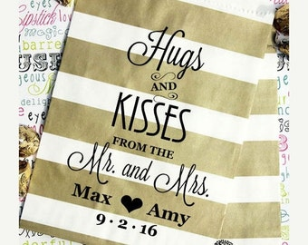 "25 Personalized Party Favor Bags, Gold Metallic Favor Bags, Gold Rugby Stripe Wedding Favor Bags - ""Hugs and Kisses From the Mr."