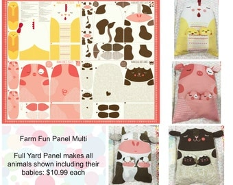 Moda Farm Panel - Full yard panel - Panel makes a mommy chicken, pig, cow, and sheep WITH Babies too! You just need stuffing!!