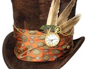 Tall Brown Top Hat About Time Steampunk Gypsy Victorian Gentlemens Mad Hatter