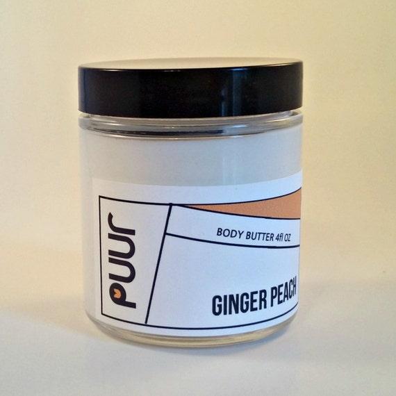 VEGAN Body Butter Ginger Peach Shea Butter moisturizing Body Cream 4oz Body Lotion Paraben Free Fruity Summer Scent Hand Cream Glass Jar