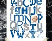 LA DODGERS ABC Nursery Art Print
