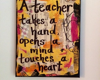 Teacher Takes a Hand art book painting classroom decor education gift art music wall quote original mixed media collage ART PRINT