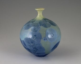 Small Green and Blue Crystalline Glazed Bottle