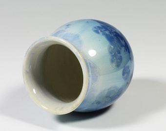 Chubby Little Turquoise Crystalline Glazed Vase