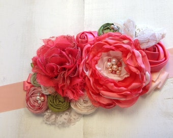Coral, Green & Shell Pink Rosette Lace Wedding Maternity Bridal Sash